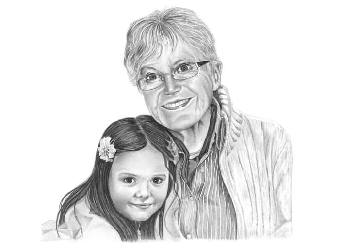 Pencil Portrait of Grandmother and Granddaughter