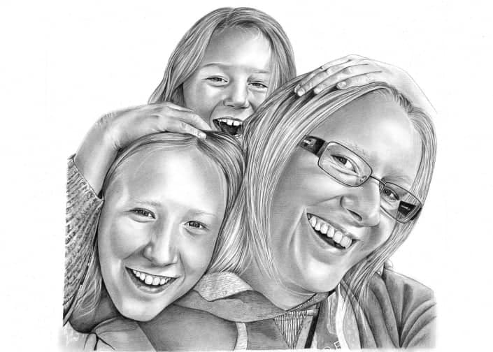 Pencil Drawing of Mum, Son and Daughter