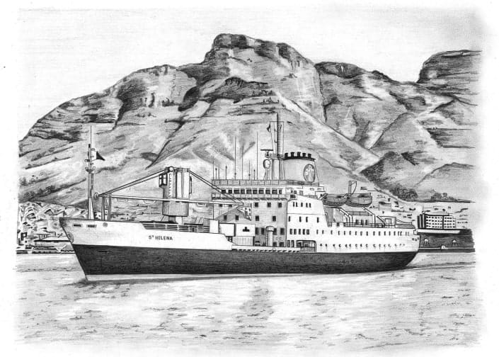 Pencil Drawing of RMS St Helena Boat