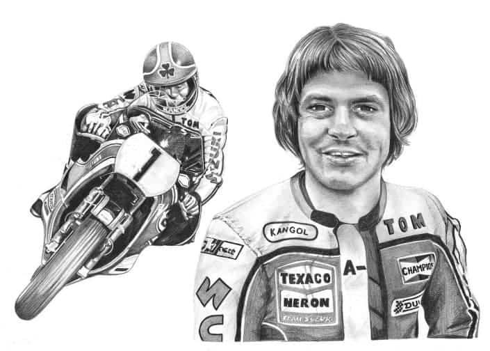 Pencil Drawing of Tom Herron, Team Suzuki