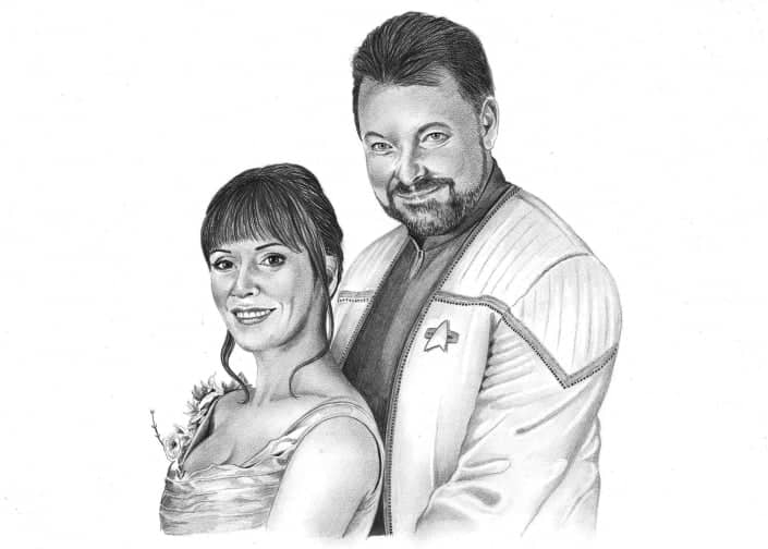 Pencil Portrait of Will Riker and Deanna Troi (Jonathan Frakes and Marina Sirtis)