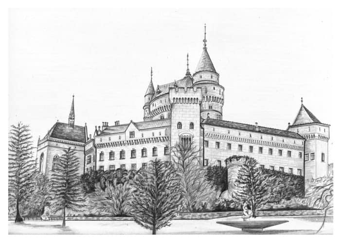 Pencil Drawing of Bojnice Castle in Slovakia
