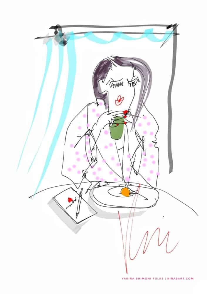Way Back Then-2-woman breakfast ©Yakira Shimoni Fulks—Kiras Art and Poetry