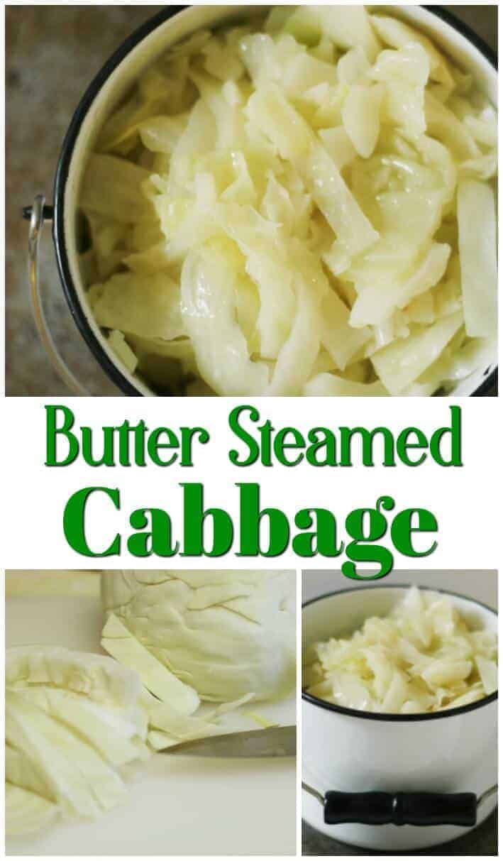 Cabbage being chopped and pot of butter steamed cabbage in vintage enamelware