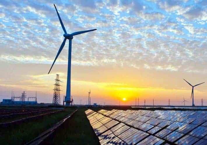 Renewable Energy Solar Panels and Wind Turbine