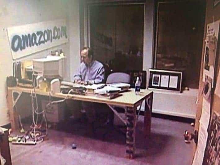 Amazon Leadership Principles. Jeff Bezos in his garage at the start