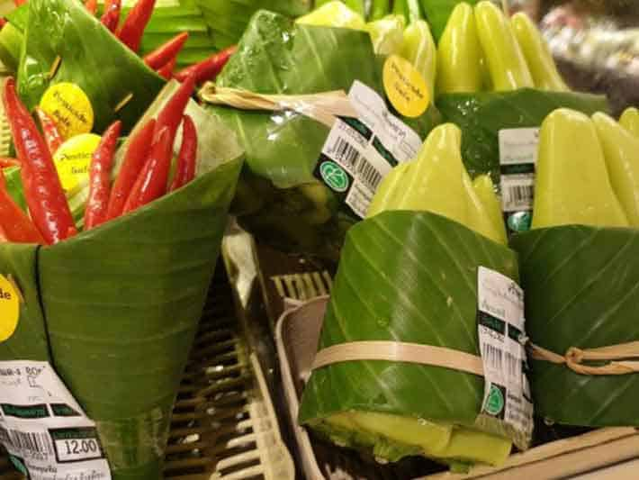 Food Wrapped in Bananas Leaves