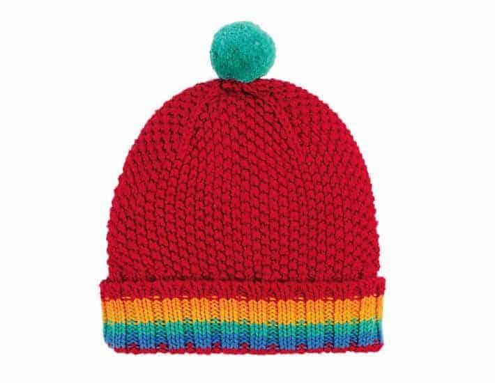 Frugi red bobble hat