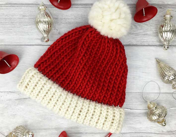 Read and white Christmas beanie