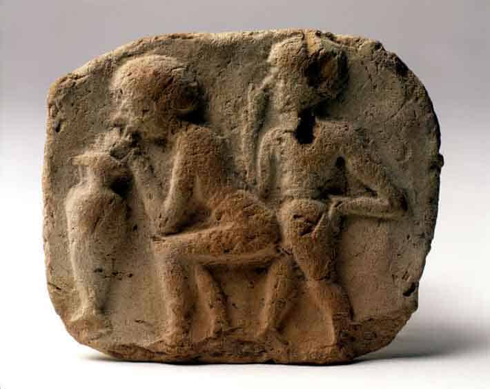 History of Plastic Straws Terracotta plaque depicting a copulating couple drinking beer through a straw