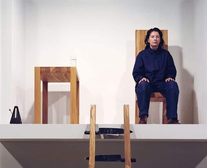 Marina Abramovic performing The House with the Ocean View