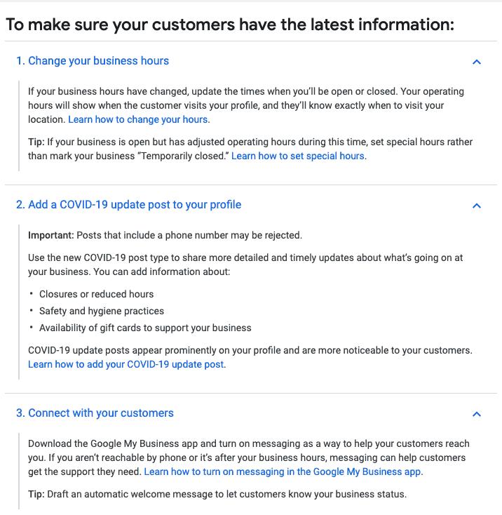 google my business coronavirus tips