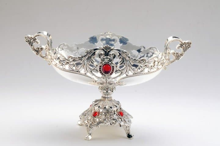 FB1008TIE-Silver Plated Fruit Bowl Big with Stone Work