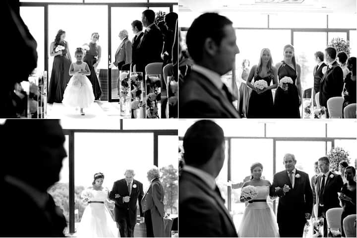 Bridal party walk down aisle