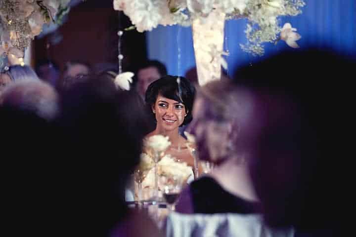 Bride during speeches at wedding