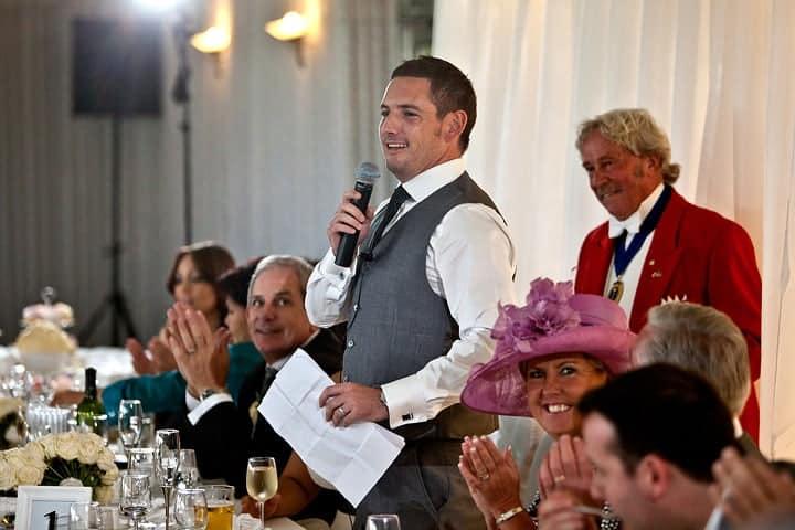Cheering on groom