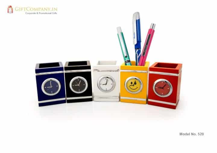 Square Pen Stand with Clock