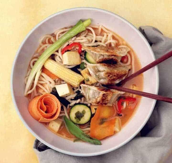 Overhead shot of a vegetarian Ramen Recipe Bowl