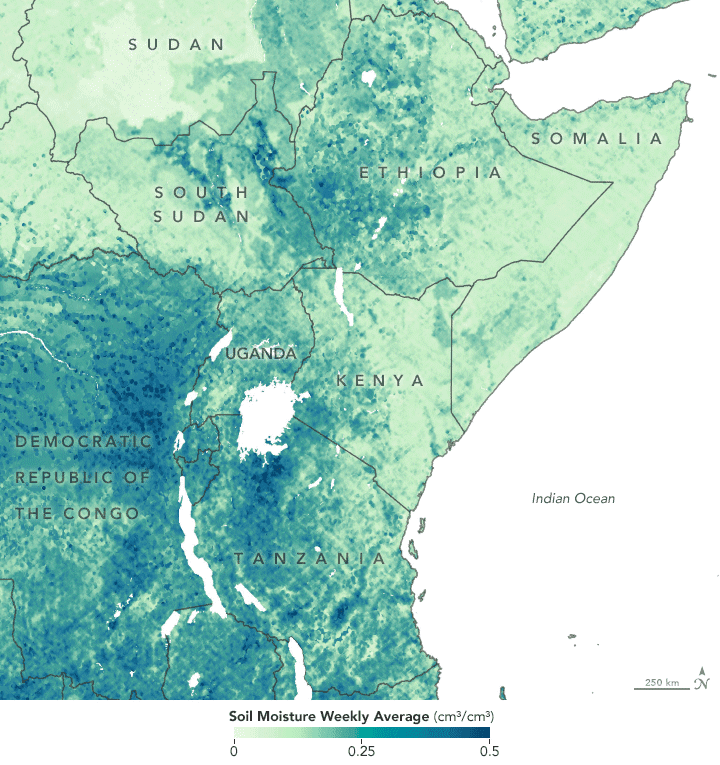 Researchers are using remote sensing observations of soil moisture and vegetation to map out environmental conditions conducive to promoting locust swarms. Map of soil conditions in Eastern Africa (locusts lay eggs in moist soil): NASA, 2020.