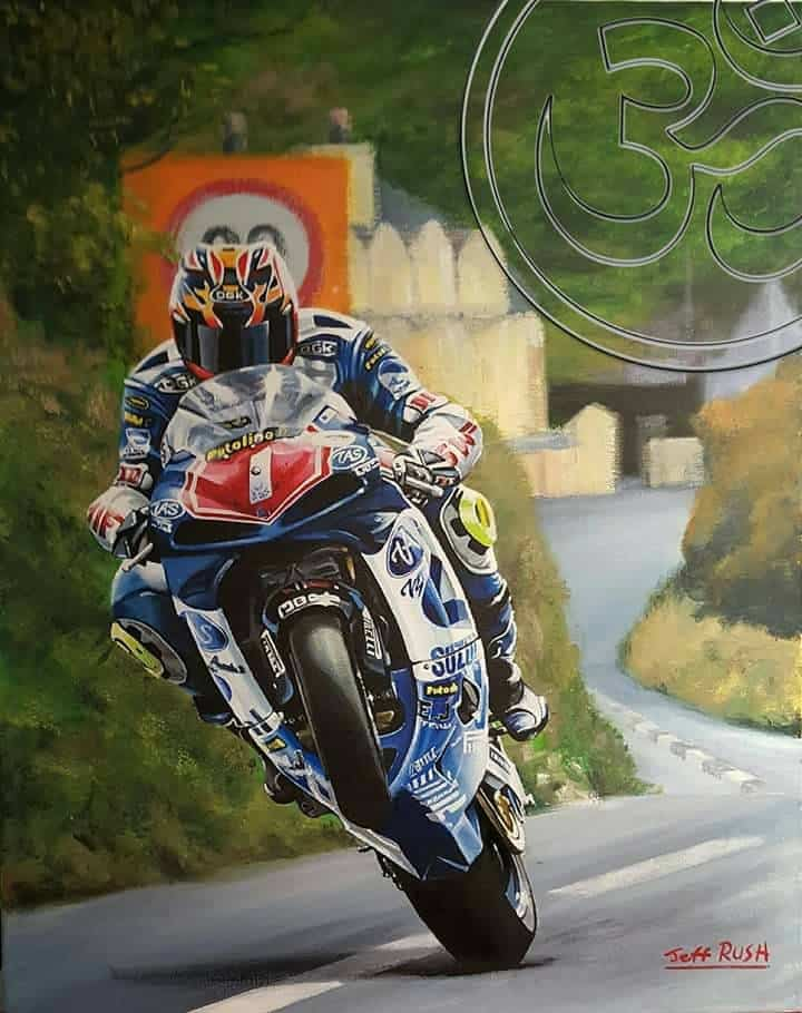 David Jefferies limited edition art print by Jeff Rush Motorcycle racing poster road racing poster isle of man TT poster gifts for bikers