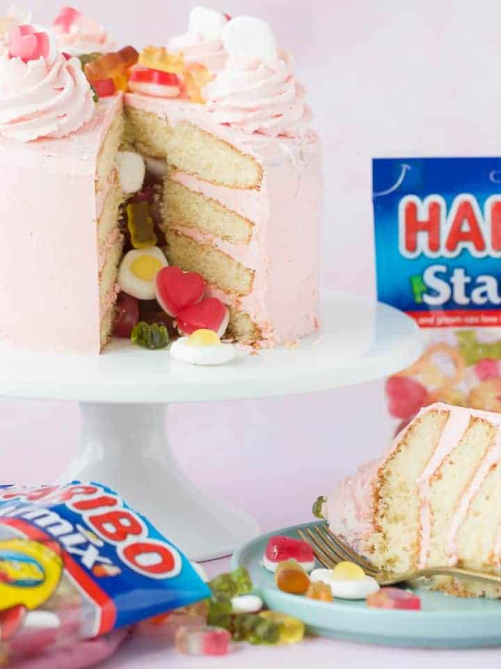 A Pinata cake made with HARIBO sweets.