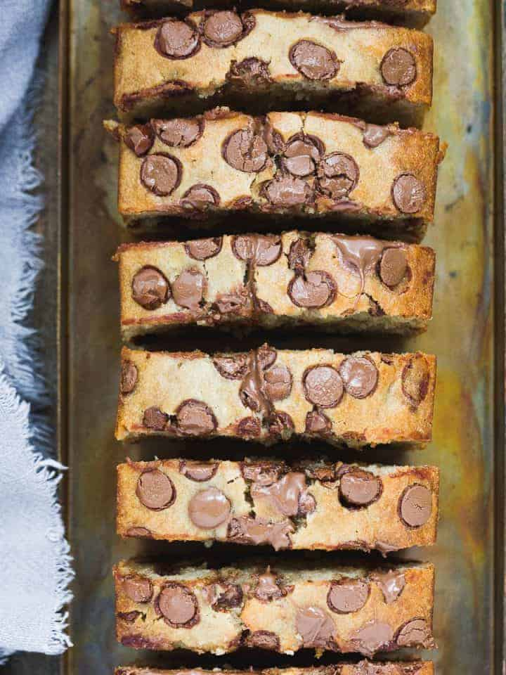 Chocolate chip banana bread that has been cut into slices.