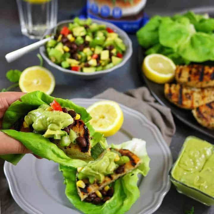 Alaskan Pollock Burgers In Lettuce Wraps with Celery Avocado Salsa and Horseradish Sauce