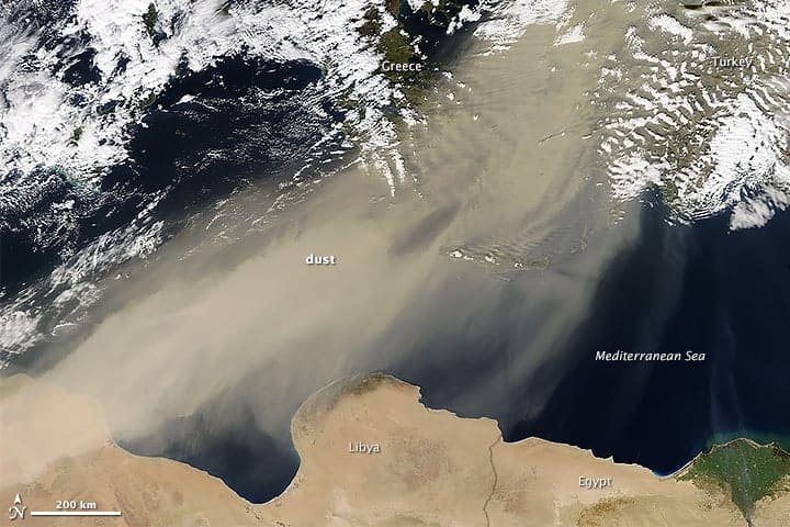 This The natural-color MODIS image shows the dust as it moved from North Africa, swept northeast over the Mediterranean Sea, and blanketed the atmosphere over Turkey and Greece. Source: NASA