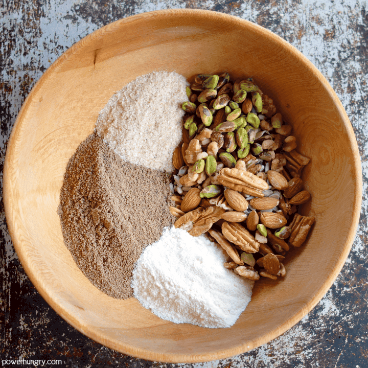 Ingredients for coconut flour bread that is vegan keto paleo