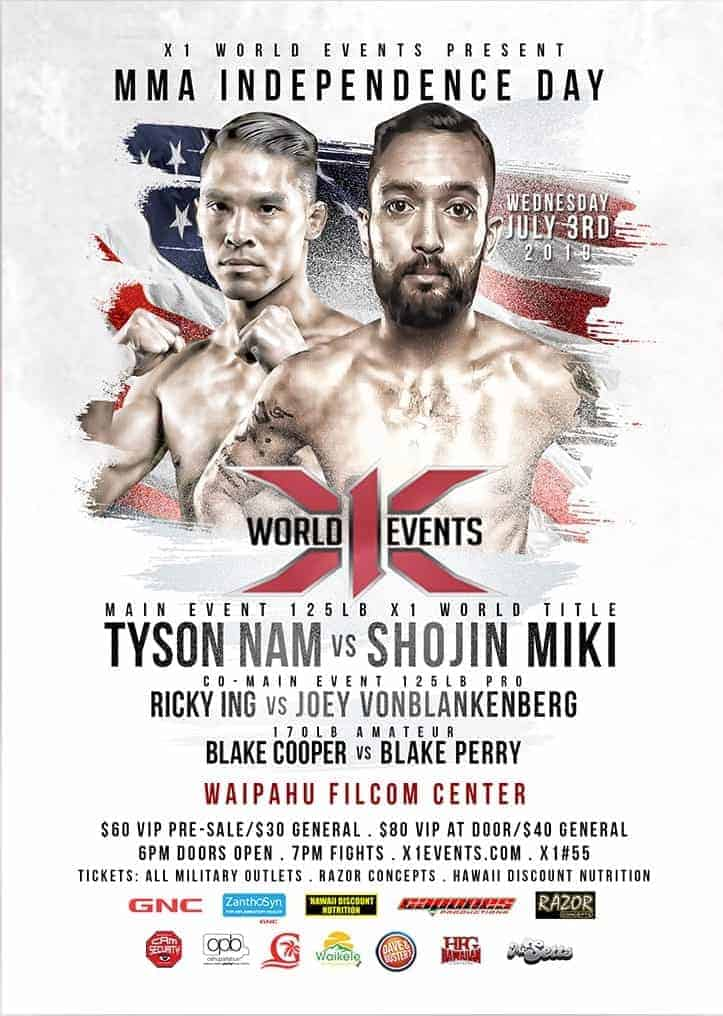 X1#55: MMA Independence Day July 3 2019 Fight results