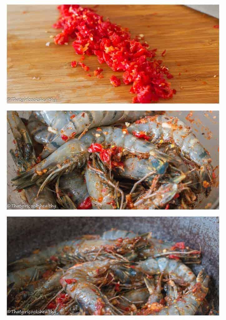 Jamaican hot pepper shrimp step 1-3