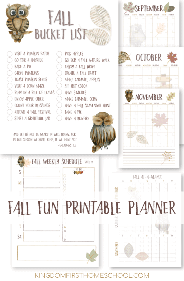 No more what-ifs or wish-I-would-ofs this year. Now you can plan and keep track of all those fall adventures on your fall bucket list in this super cute printable Fall Planner. Printable bucket list included with suggestions or blank.