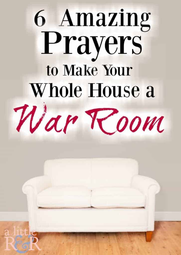 Here are 6 powerful prayers to pray while you clean that will turn your whole house into a war room. Stop viewing housework as a menial task and begin seeing it as beautiful worship as you pray over every room of your house. #alittlerandr #warroom #prayer #homemaking