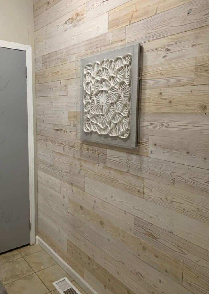 wood plank faux shiplap wall