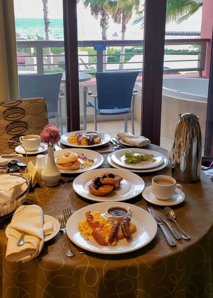 room service breakfast in Mexico with ocean view