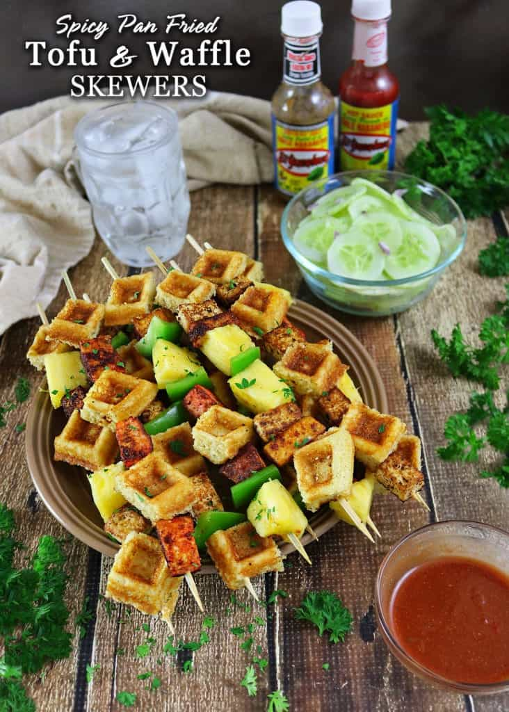 Spicy Pan Fried Tofu And Waffle Skewers