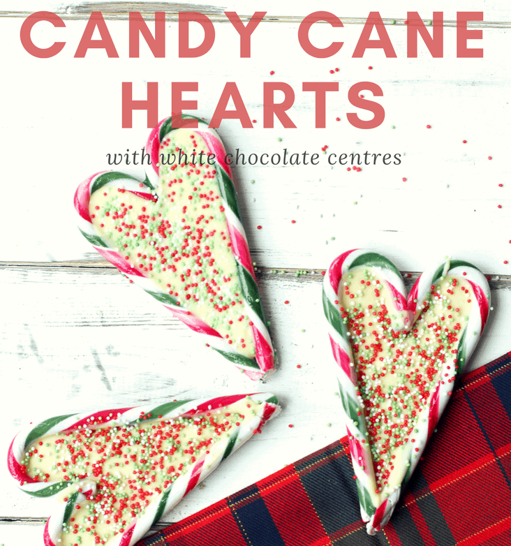 Make candy cane hearts for your loved ones this Christmas in three simple steps. The candy cane hearts are a perfect peppermint treat with white chocolate centres and decorated with festive sprinkles. Give as a thoughtful home made gift or make miniature versions and hang them on your Christmas tree.