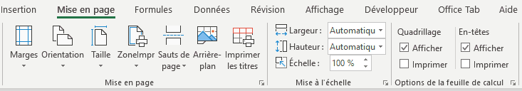 Excel - ruban mise en page