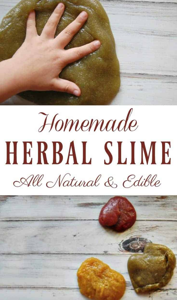 This homemade herbal slime is guilt free! No toxins, borax free, no glue! Just 3 ingredients (one of them is water) and it's 100% edible! #slime #herbal #sensoryplay #kidcrafts #homemade