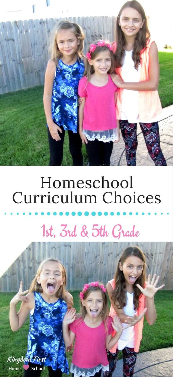 Homeschool curriculum choices for 1st, 3rd and 5th grade.