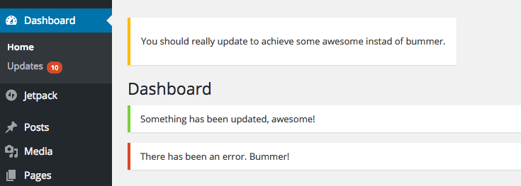 How to hide WordPress updates admin messages in the dashboard
