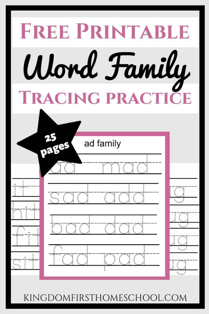 Looking for free word family printables? Here's a 25 page instant freebie download that will help your child form letters, spell the words and more. Head over and get your free download. #freeprintables #freehomeschoolprintables #freewordfamilyprintables #freewordfamilyworksheets