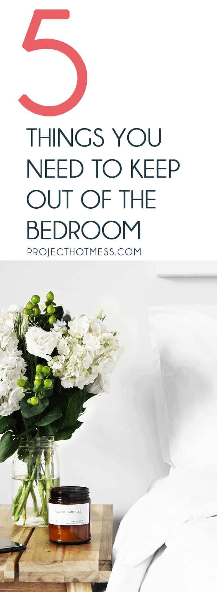 Your bedroom is supposed to be your sanctuary, but can quickly become a room of chaos. Here are 5 things to keep out of the bedroom to keep it calm and cozy.  Keeping House | Bedroom Styling | Bedroom Organisation | Hygge Bedroom | Calm Bedroom |
