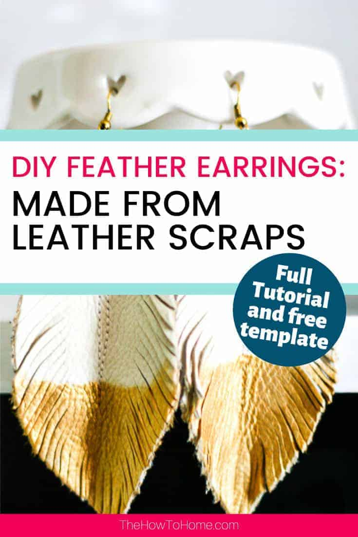 White handmade leather feather earrings with hand painted gold trim.
