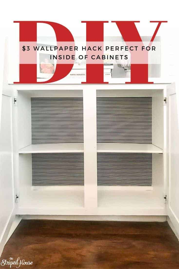 Turning a wasted cabinet into a bright, organized space for cleaning supplies. #decorhack #decorating #budgetdecor #diy #wallpaper