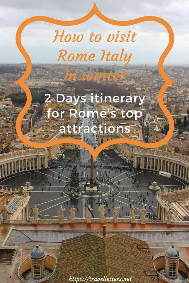 Visit Rome in winter and avoid the largest crowds. Rome is one of the most diverse city with an extensive amount of things to do and see. Explore eternal city and its ancient history, religion, architecture, food, wine, galleries, fountains and football. Take a day trip to beautiful beaches or some of Italy's most amazing cities Florence, Venice, Pompeii and Napoli. Visiting Rome in winter - 2 days itinerary.