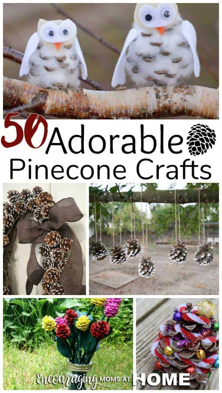 Looking for DIY crafts that you can do with your kids? Take a look at these 50 Adorable Pinecone Crafts for Kids to Make.  Everything from wreaths to ornaments that can be given as gifts or used as decoration.