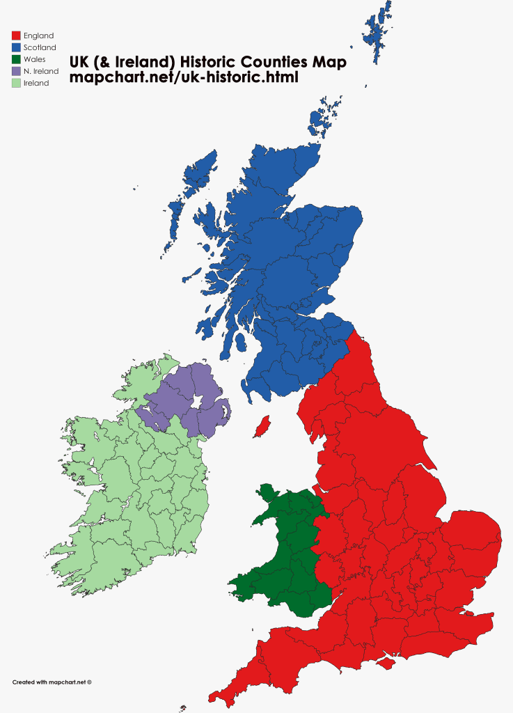 United Kingdom map showing England, Wales, Scotland and N Ireland historic counties