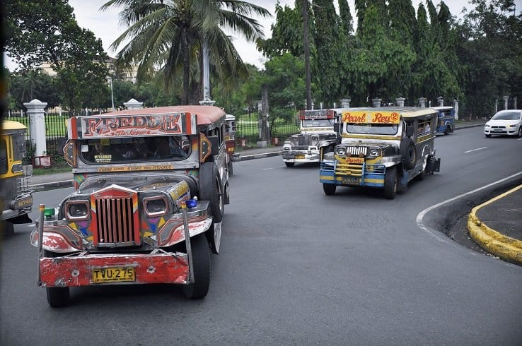 Jeepneys in Manila, traveling to tourist spots in Luzon, Philippines