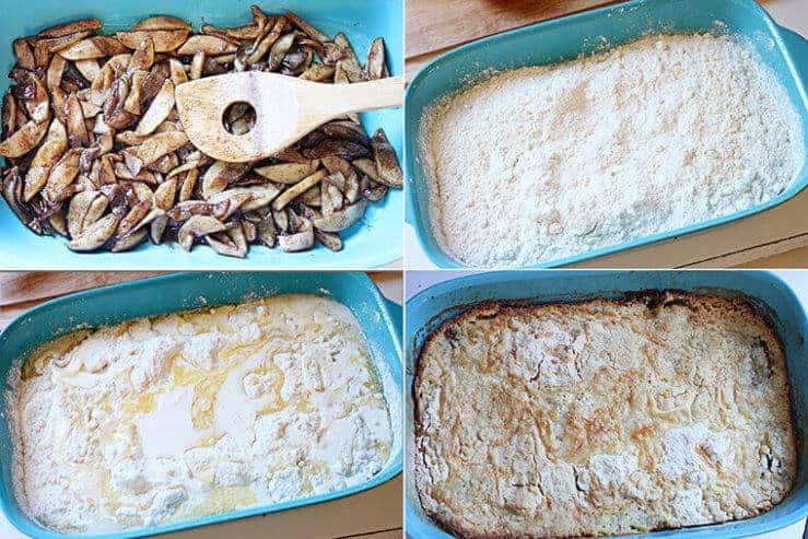 cinnamon apple dump cake prep